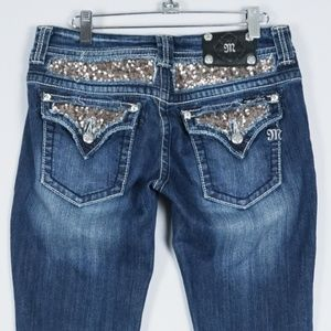 Miss Me Gold Sequin Flap Rhinestone Boot Jeans